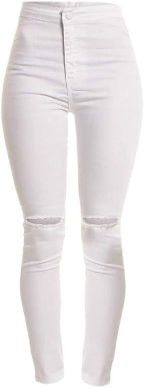 Jeans Slim Skinny Fit Destroyed dżinsy damskie, cienkie dziurki, długie zamki błyskawiczne, do codziennego joggingu, prosta nogawka, ze stretchem LöChern: Odzież