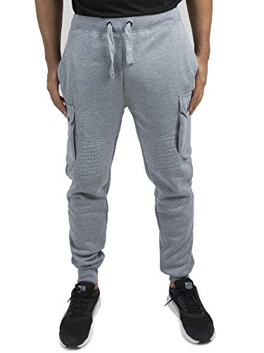 - Vibes Gold Label Mens Grey Fleece Moto Cargo Jogger Pants Rib Waist Cuff Size L