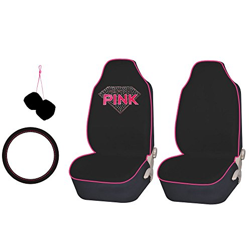 FH GROUP FH-FB151102 Diamond Shaped Rhinestone Seat Covers Accessory Set Pink / Black – Fit Most Car, Truck, Suv, or Van
