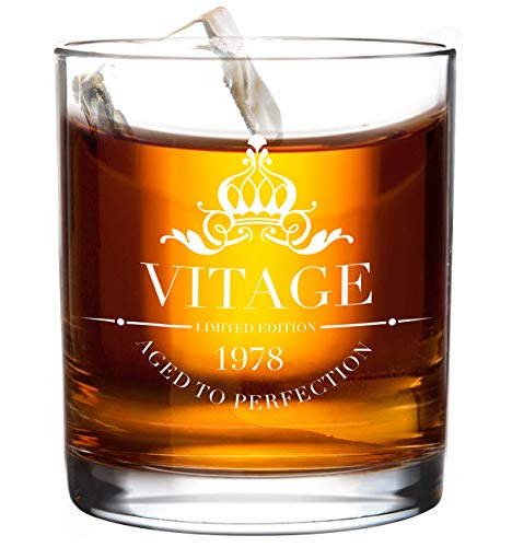 1978 40th Birthday Whiskey Glass for Men and Women - Vitage Wedding Anniversary Gift Ideas for Him, Her, Dad, Mom, Husband or Wife Party Favors Decorations - 11 oz Bourbon Scotch -