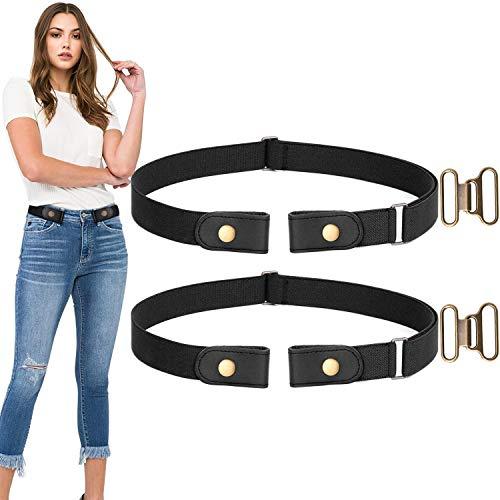 (No Buckle Stretch Belt For Women/Men Elastic Waist Belt Up to 33