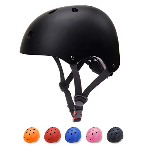 Black Kids Helmet - Toddler Bike Helmet 3-5 Kids Helmet Multi-Sport Skateboard Scooter Cycling Helmet CPSC Certified Impact Resistance Ventilation Adjustable Helmet Kids (Black, Small)