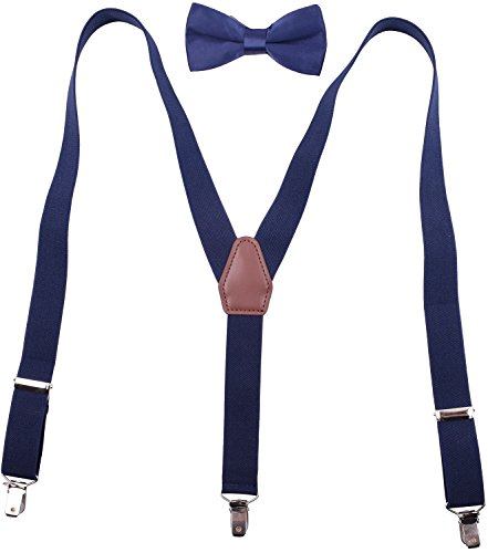 Kids Suspenders and Bow Tie for Party Wedding Y Suspenders for Kids Boys Navy by BODY STRENTH