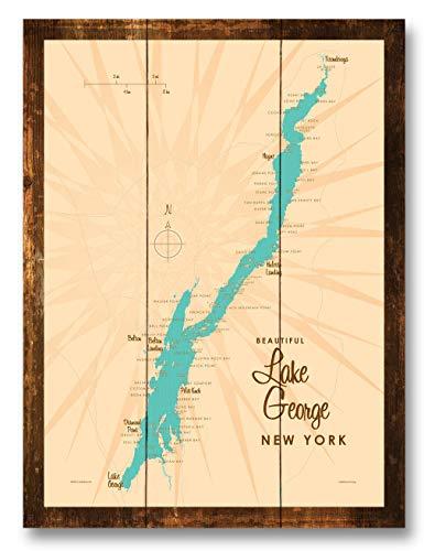 Lake George New York Vintage-Style Map Rustic Wood Art Print by Lakebound (9