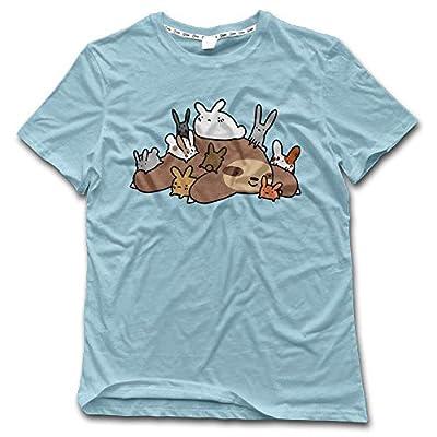 Aiguan Bunnies And Sloth Mens Cozy Short Sleeve T-Shirt Casual Top Tee Skyblue - Sloth T-Shirts