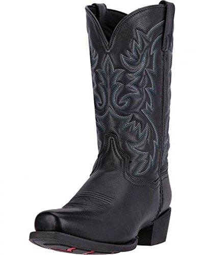 Mens 12' Dan Post - Laredo Men's 12'' Bryce Square Toe Cowboy Boots, Black Leather, 10 EW