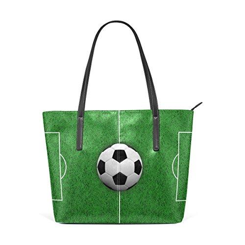 COOSUN 3D Rendering Soccer Ball auf Feld PU Leder Schultertasche Handtasche und Handtaschen Tasche für Frauen