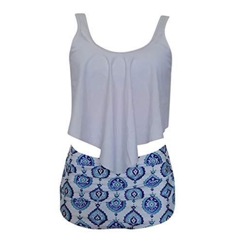 Women Two Piece Plus Size Sexy Backless Halter Beach Printed Swimwear Set White]()