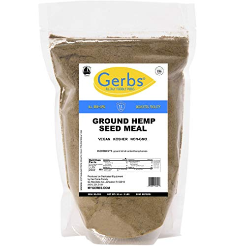 Ground Hemp Kernel Meal, 2 LBS by Gerbs - Top 14 Food Allergy Free & NON GMO - Vegan & Kosher – Premium Full Oil Content Hemp Protein Powder