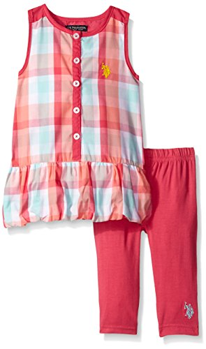 U.S. Polo Assn. Girls' 2 Piece Legging and Babydoll Tiered Ruffle Top Set