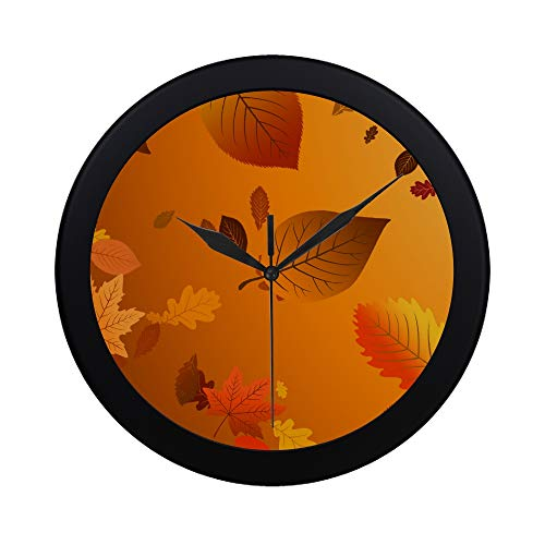 WBSNDB Modern Simple Floating Leaves Vector Mobile Wallpaper X Pattern Wall Clock Indoor Non-Ticking Silent Quartz Quiet Sweep Movement Wall Clcok for Office,Bathroom,livingroom Decorative 9.65 ()