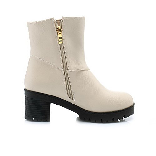 Soft Round Low Zipper AgooLar Kitten Beige Boots Top Material Closed Heels Women's Toe 4qwwg5xI