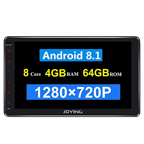 JOYING 10.1 Double Din Android 8.1 4GB 64GB Car Stereo Built-in DSP LCD Touchscreen with 4G SIM Card Slot 1280 720P Reslution – Supprot Android Auto DSP SPDIF Fast Boot WiFi OBD2 DVR
