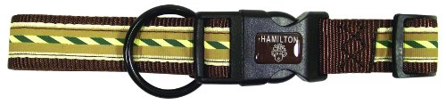 Hamilton FAS RO STBR Outdoorsman Collection Stripe on Brown Pattern Adjustable Dog Collar, 5/8 by 12 to 18-Inch