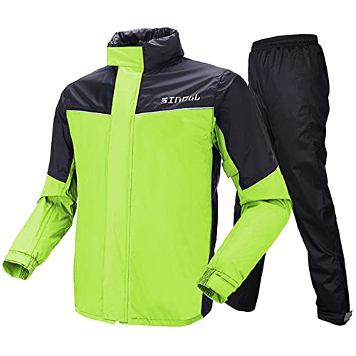Motorrad Kombi – Regenkombi für Männer Frauen Regenbekleidung Regenanzug mit reflektierenden Streifen(M,Grün)