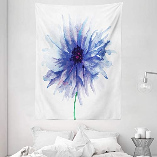 Ambesonne Watercolor Flower Tapestry, Single Large Petite Cornflower Plain Background Mother Earth Paint, Wall Hanging for Bedroom Living Room Dorm, 60 X 80 , Violet Blue