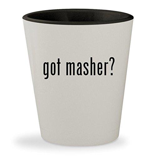 got masher? - White Outer & Black Inner Ceramic 1.5oz Shot Glass