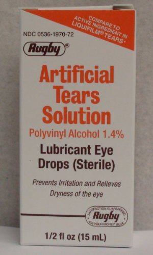 Artificial Tears Ophthalmic Solution - Rugby Artificial Lubricant Tears Eye Solution 0.5 OZ (PACK OF 3)
