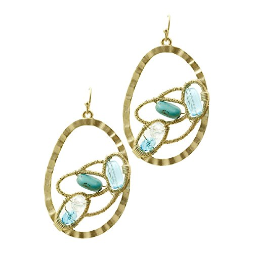 Simulated Blue Aquamarine Turquoise Hammered Oval Drop Earrings 2