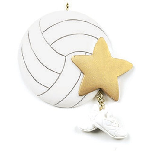 Personalized Volleyball Christmas Ornament for Tree 2018 - Sports Ball with Gold Star and Sneakers dangling Team Player Athlete Net - Coach Hobby High School Profession - Free Customization by Elves