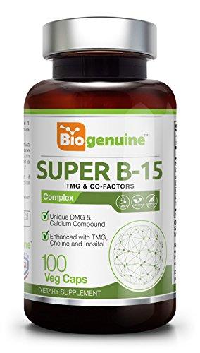 Complex Super B-100 (Super B-15 Pangamic Acid Complex 100 Vcaps - TMG | Healty Oxygen Levels | Energy)