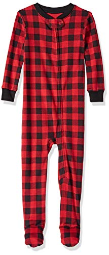 Amazon Essentials Toddler and Baby  Zip-Front Footed Sleeper, Buffalo Check, 18-24M