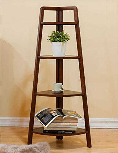 Giow Outdoor Herb Flower Plant Stands American Solid Wood Floor Corner Flower Pot Plant Stand Shelf Display Triangular Flower Rack Indoor and Outdoor Use Vintage Style (Color : A)