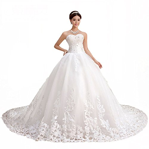 QueenBridal Sweetheart Lace Chapel Train Ball Gown Wedding Dress (18W,White)