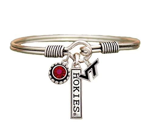 Sports Accessory Store Virginia Tech Hokies 3 Charm Red Crystal Silver Wire Bracelet Jewelry NCAA VTU (Jewelry Accessories Ncaa)