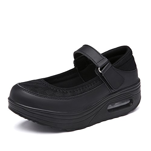 EnllerviiD Women Breathable Mary Jane Shoes Buckle Casual Walking Slip On Sneakers (6 M US, 2968-black)]()