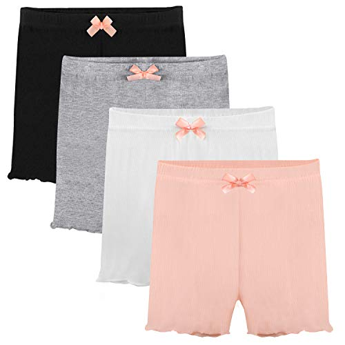 Auranso Girls Dance Bike Shorts, 4 Pack Little Big Girl's Dance Undershorts for Sports, Play or Under -