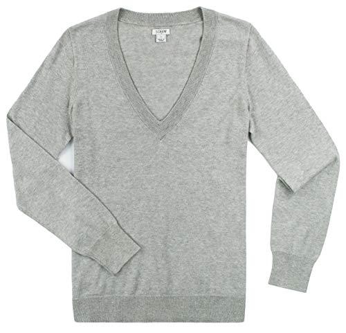J. Crew Women's Cotton V-Neck Sweater (Medium, Heather Grey)