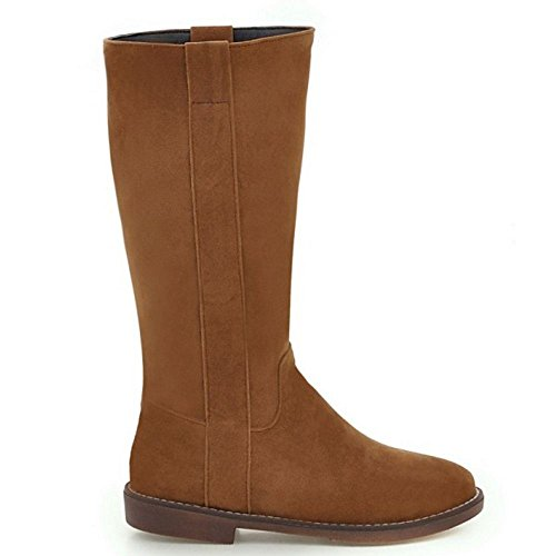 Mid Flat 43 COOLCEPT Calf Fashion Boots Western EU31 Women's Size Brown Uqwwtxg