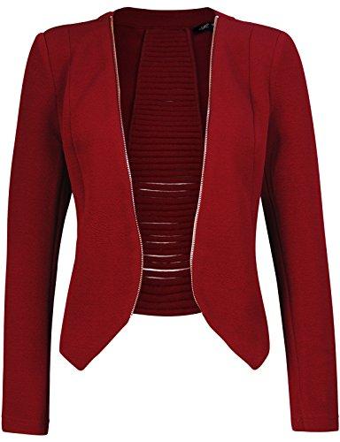 Michel Women's Open Front Lightweight Cardigan Blazer Jacket Burgundy X-Large ()