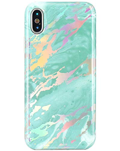 JIAXIUFEN Compatible iPhone X iPhone Xs Case Shiny Change Color Mint Green Marble Slim Shockproof Flexible Bumper TPU Soft Case Rubber Silicone Cover Phone Case for iPhone Xs iPhone X