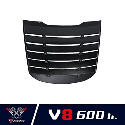 Rear Window Louvers - V8 GOD Mustang Rear Window Louvers in Matte Black ABS for 2015 2016 2017 2018 Ford Mustang