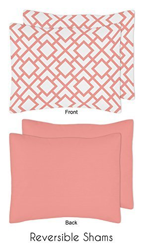 Modern White and Coral Diamond Geometric Peach Full//Queen Bed Bedding Teen Girl Childrens Comforter Sheet Set Sweet Jojo Designs B01DWQGSIG