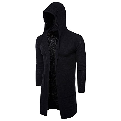 - Balakie Stylish Mens Cardigan Slim Hooded Knit Sweater Long Trench Jacket Coat(Black,L)