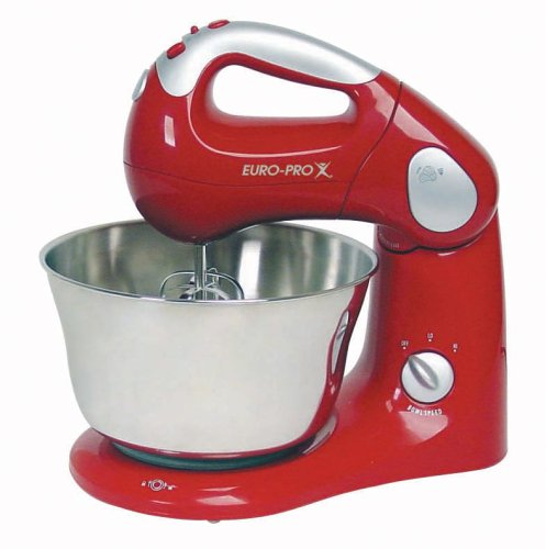 UPC 622356519090, Euro-Pro EP585R 10-Speed Pro Mixer with Rotating Bowl, Red