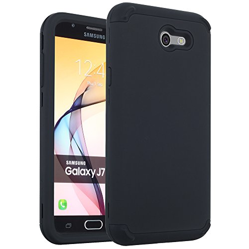 Galaxy J7 Perx Case, J7 Prime Case, J7 Sky Pro Case,Galaxy J7 V Case,Samsung Galaxy J7 2017 Case,Alkax Dual Layer Heavy Duty Hybrid Protective Shockproof Armor Phone Case Slim Rubber Hard Cover -Black -
