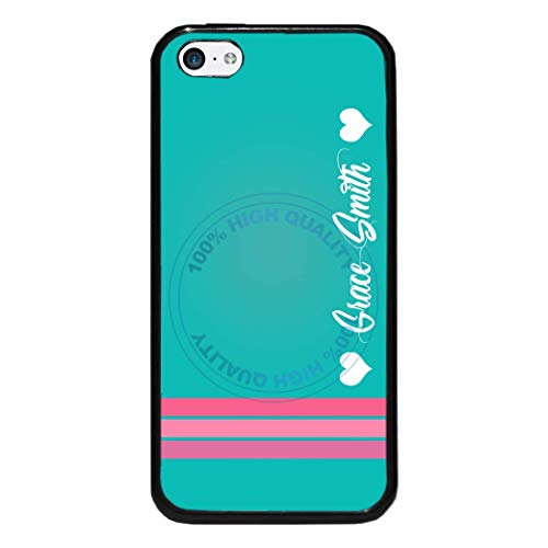 (BRGiftShop Personalized Custom Name Teal With Pink Stripes And Hearts Rubber Phone Case For Apple iPod Touch 5th & 6th Generation)