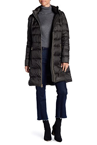 MICHAEL Michael Kors- Women Quilted Long Hooded Jacket Puffer Coat~Packable (Dark Olive, Small) ()