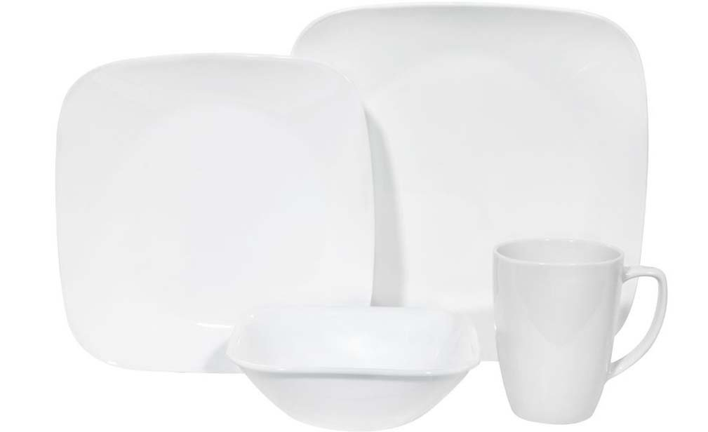Corelle Square 16-Piece Dinnerware Set, Service for 4, Pure White