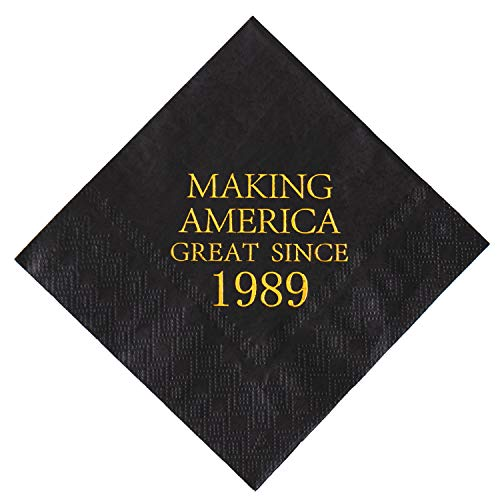 Napkins Black and Gold Dessert Beverage Cocktail Luncheon Napkins 30th Birthday Decoration Party Supplies, Making America Great Since 1989, 50 Pack 4.9