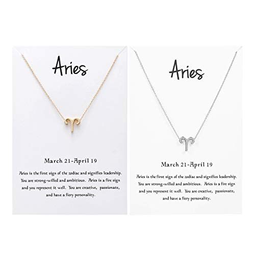JONERISE 2 Pack 12 Constellation Pendant Necklace Zodiac Sign Necklace with Birthday Gifts Message Card,Gold and Silver (Aries)