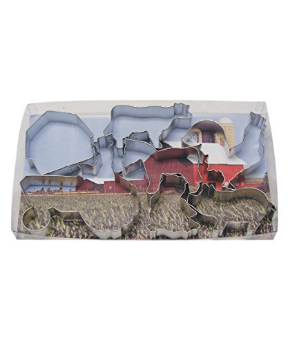 R&M International 1939 Farm Theme Cookie Cutters, Tractor, Cow, Chick, Barn, Rooster, Horse, Pig, 7-Piece Set Barn Farm