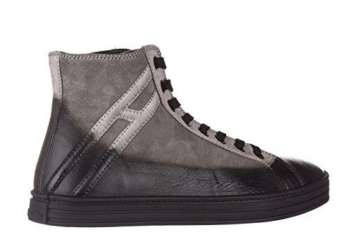 Hogan Rebel zapatos zapatillas de deporte largas hombres en ante nuevo r141 gris