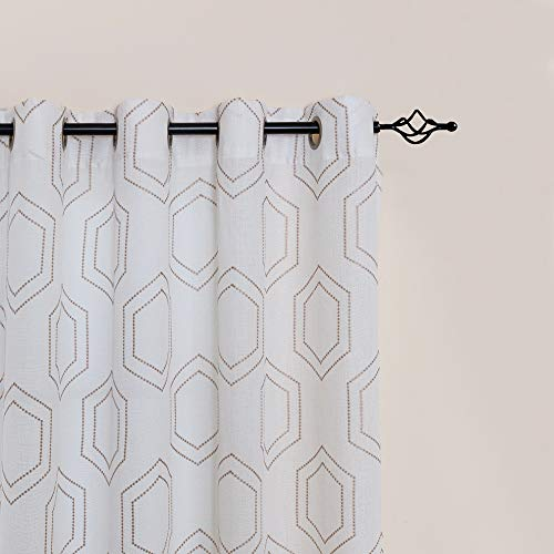 White Semi Sheer Curtains Panel Pairs for Bedroom 63 Inch Length Honeycomb Fabric Embroidered Ring Top Sheers for Living Room Grommet Window Curtain Set (2 Panels, White)