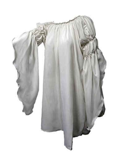 Renaissance Medieval Peasant Dress Up Pirate Faire Celtic Blouse (White) (Pirate And Wench)