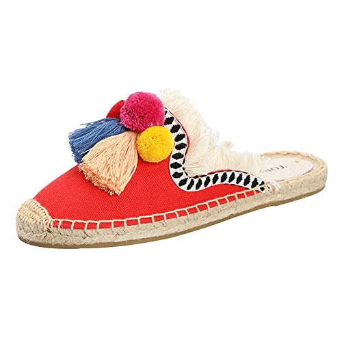 Espadrilles Canvas Shoes - Women's Canvas Mule Shoes with Tassel & Fluffy Ball Espadrilles Slides (7 M US, Watermelon Red)
